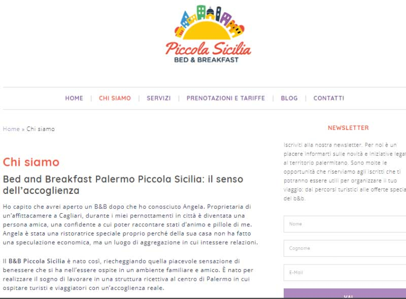 About Page B&B Piccola Sicilia